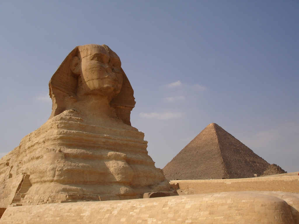 The red stone casing atop the Second Pyramid at Giza